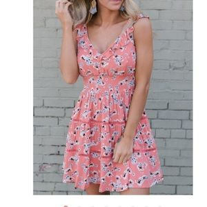 BB Dakota Secret Flowers Dress - Persimmon Red